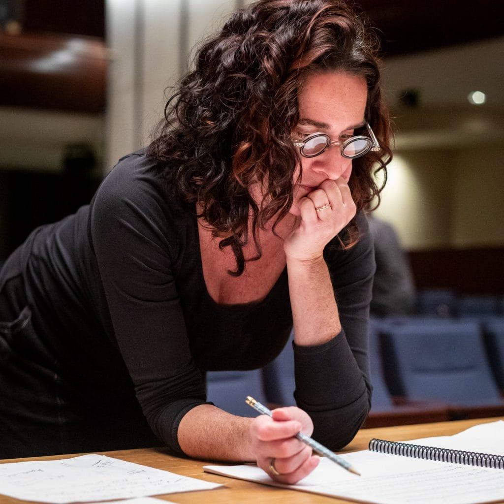 Elizabeth Margolius studying a score